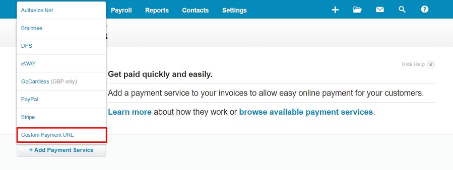 Custom payment url