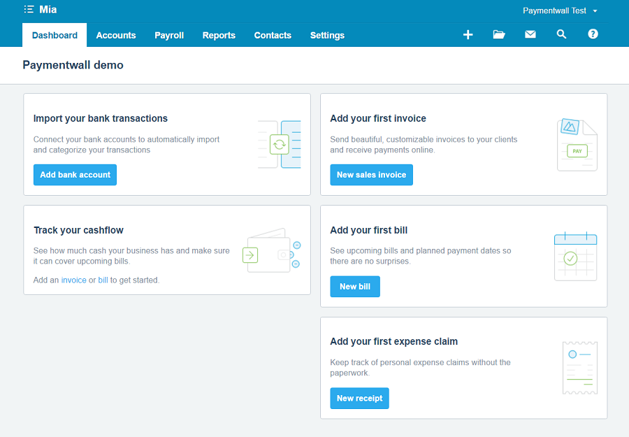 Xero dashboard
