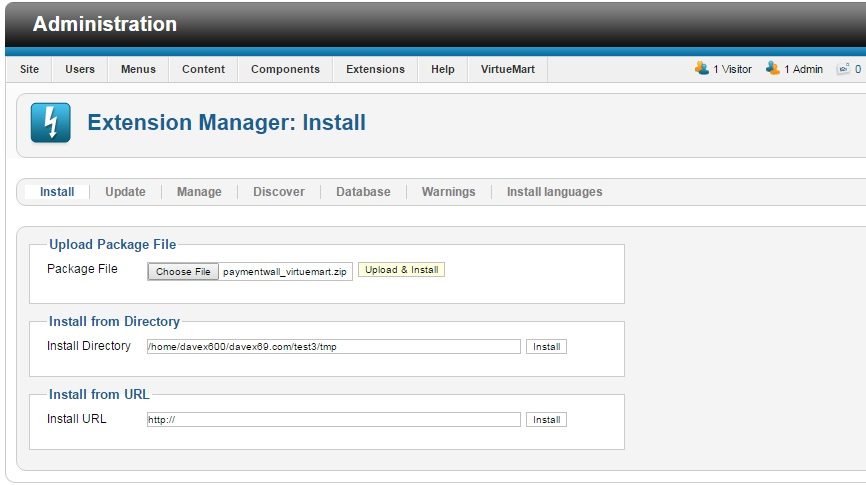 VirtueMart Extension Manager