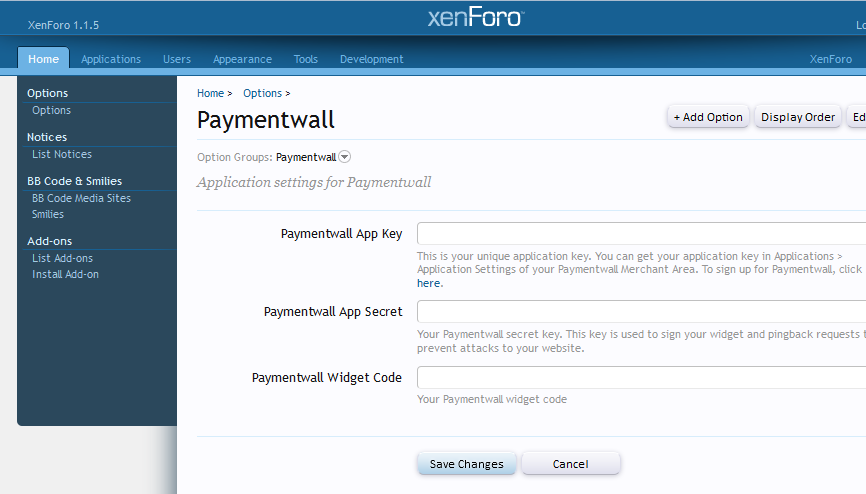 Paymentwall Options